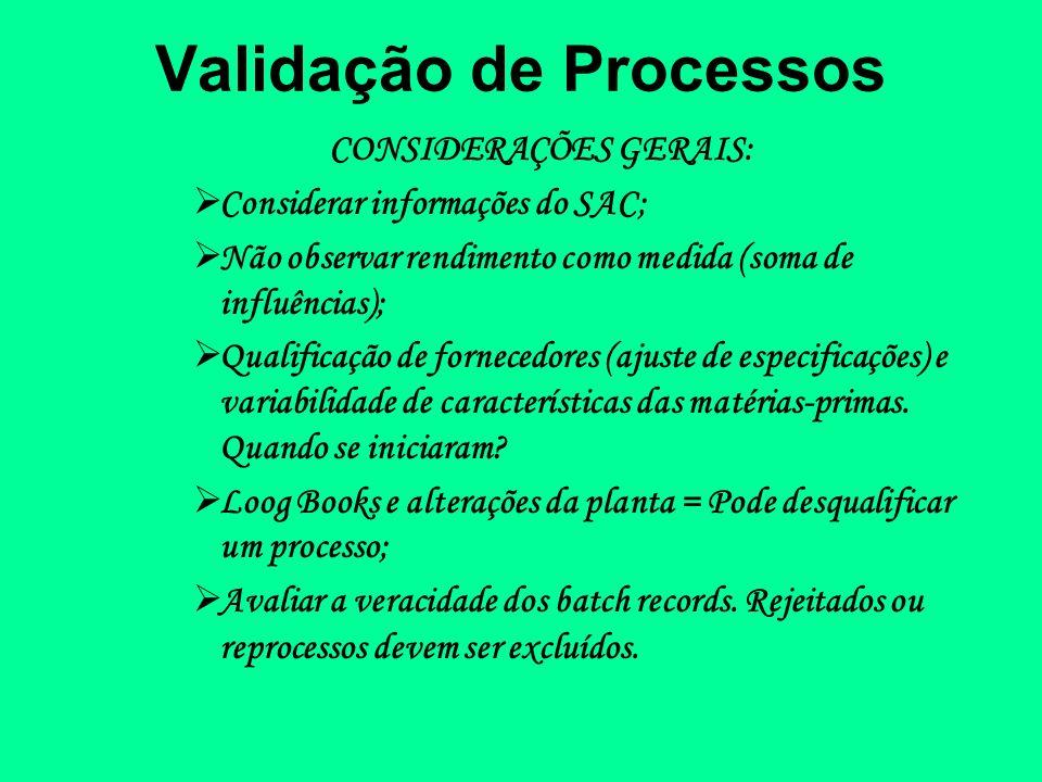 Validação de Processos CONSIDERAÇÕES GERAIS: Considerar informações do SAC; Não observar rendimento como medida (soma de influências); Qualificação de