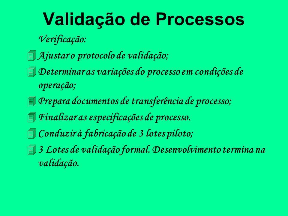 Validação de Processos Verificação: 4Ajustar o protocolo de validação; 4Determinar as variações do processo em condições de operação; 4Prepara documen