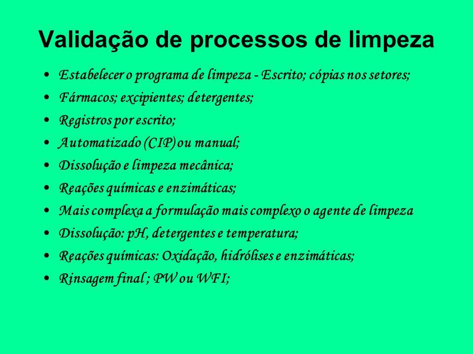Validação de processos de limpeza Estabelecer o programa de limpeza - Escrito; cópias nos setores; Fármacos; excipientes; detergentes; Registros por e