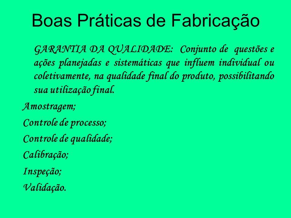 Boas Práticas de Fabricação GARANTIA DA QUALIDADE: Conjunto de questões e ações planejadas e sistemáticas que influem individual ou coletivamente, na