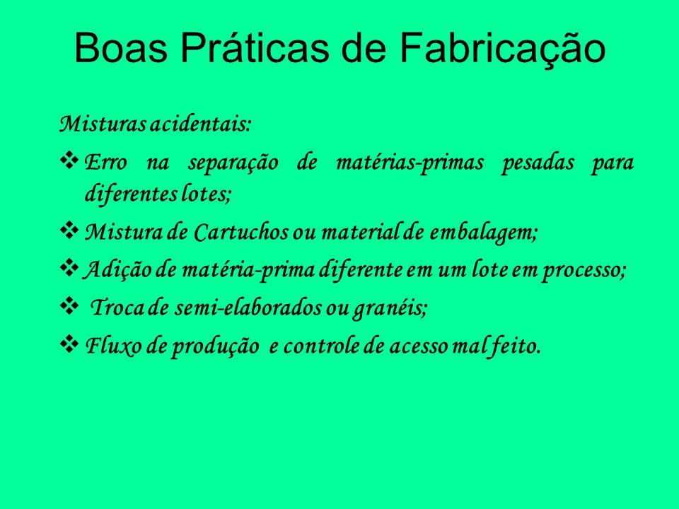 Boas Práticas de Fabricação Misturas acidentais: Erro na separação de matérias-primas pesadas para diferentes lotes; Mistura de Cartuchos ou material