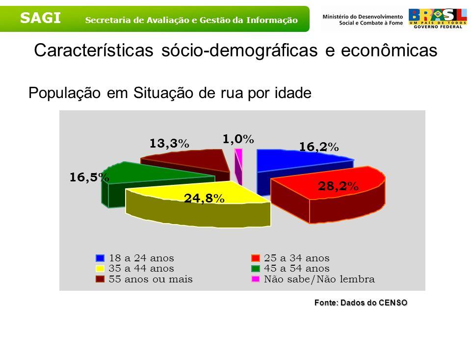 SAGI Secretaria de Avaliação e Gestão da Informação Características sócio-demográficas e econômicas População em Situação de rua por idade Fonte: Dado