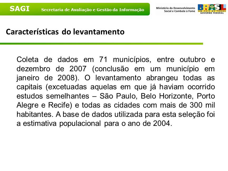 SAGI Secretaria de Avaliação e Gestão da Informação Características do levantamento Coleta de dados em 71 municípios, entre outubro e dezembro de 2007