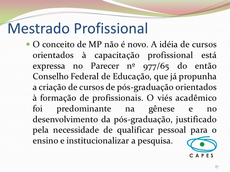 Mestrado Profissional 17 O conceito de MP não é novo. A idéia de cursos orientados à capacitação profissional está expressa no Parecer nº 977/65 do en