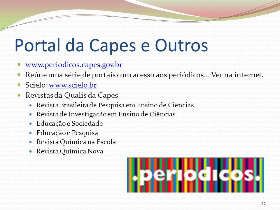 Portal da Capes e Outros www.periodicos.capes.gov.br Reúne uma série de portais com acesso aos periódicos... Ver na internet. Scielo: www.scielo.brwww