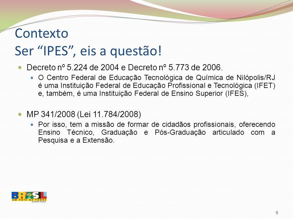 Contexto Ser IPES, eis a questão! 9 Decreto nº 5.224 de 2004 e Decreto nº 5.773 de 2006. O Centro Federal de Educação Tecnológica de Química de Nilópo