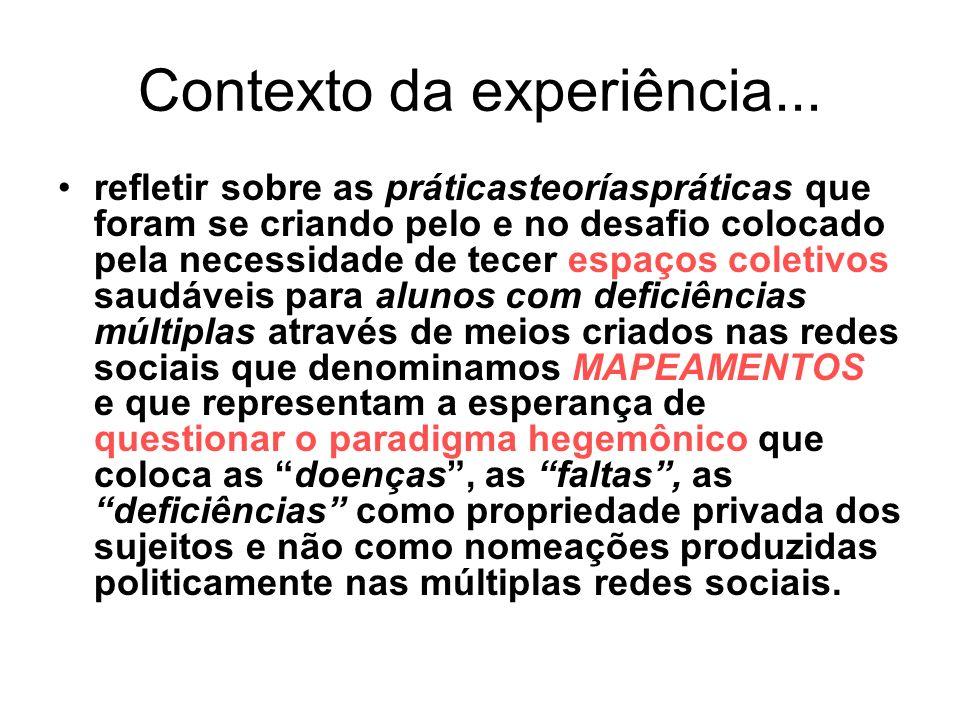 Contexto da experiência... refletir sobre as práticasteoríaspráticas que foram se criando pelo e no desafio colocado pela necessidade de tecer espaços
