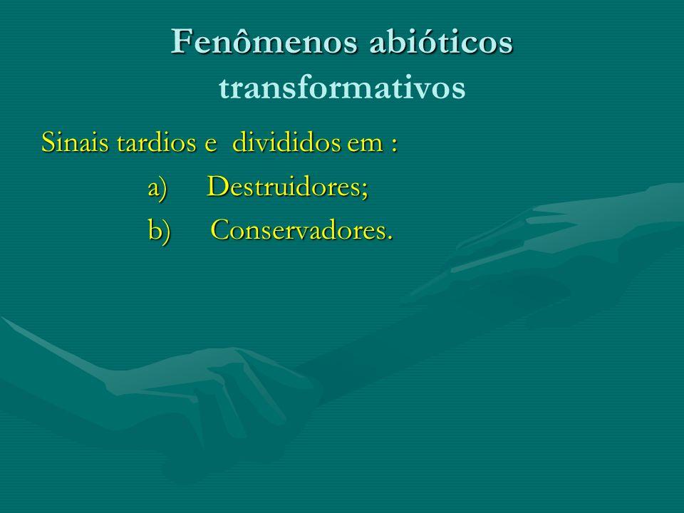 Fenômenos abióticos Fenômenos abióticos transformativos Sinais tardios e divididos em : a) Destruidores; a) Destruidores; b) Conservadores. b) Conserv