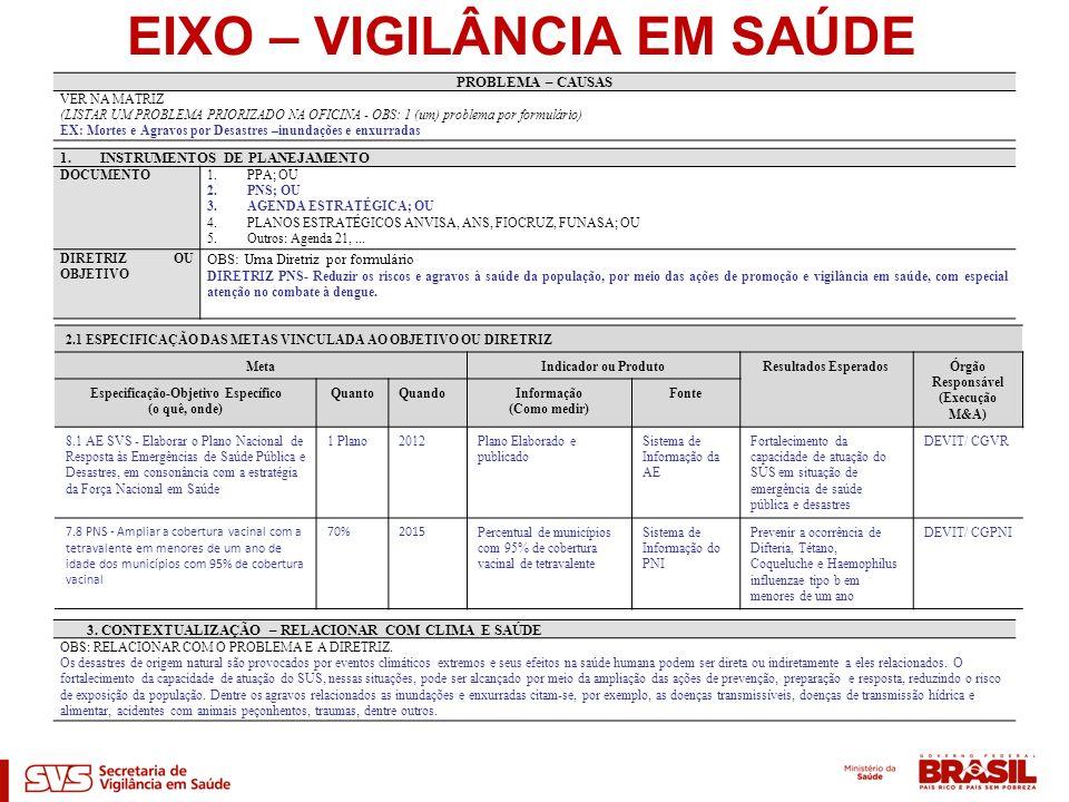EIXO – VIGILÂNCIA EM SAÚDE PROBLEMA – CAUSAS VER NA MATRIZ (LISTAR UM PROBLEMA PRIORIZADO NA OFICINA - OBS: 1 (um) problema por formulário) EX: Mortes