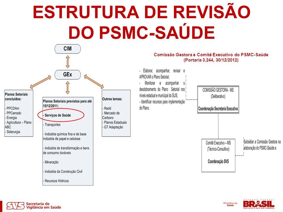 ESTRUTURA DE REVISÃO DO PSMC-SAÚDE Comissão Gestora e Comitê Executivo do PSMC-Saúde (Portaria 3.244, 30/12/2012)
