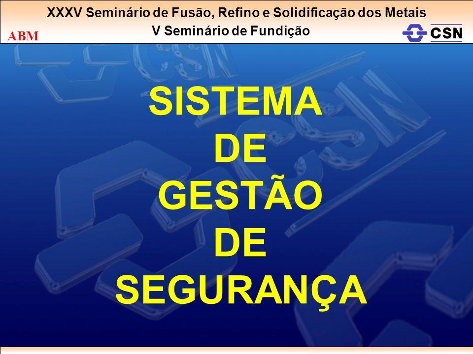 SISTEMA DE GESTÃO DE SEGURANÇA XXXV Seminário de Fusão, Refino e Solidificação dos Metais V Seminário de Fundição ABM