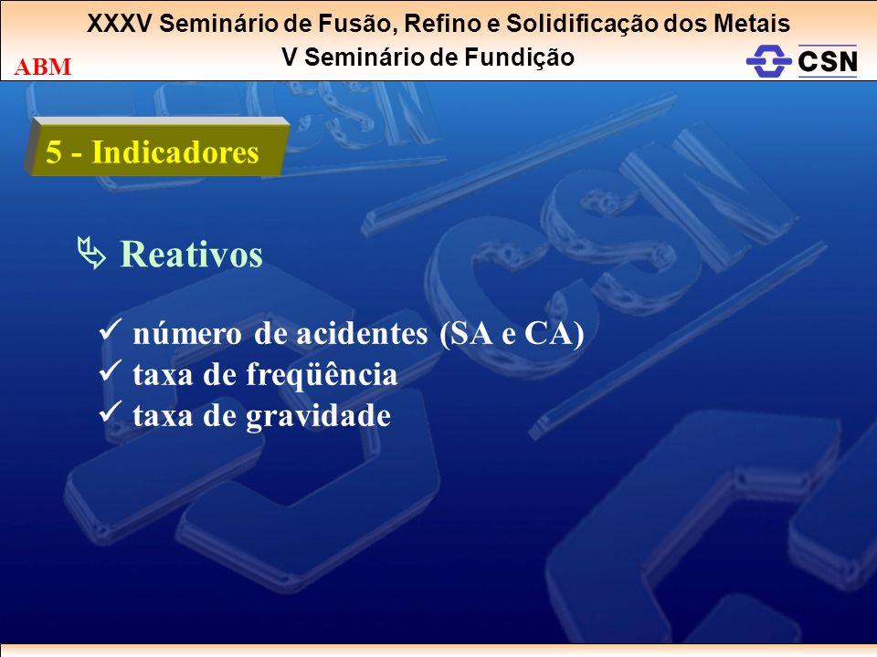 XXXV Seminário de Fusão, Refino e Solidificação dos Metais V Seminário de Fundição ABM 5 - Indicadores Reativos número de acidentes (SA e CA) taxa de