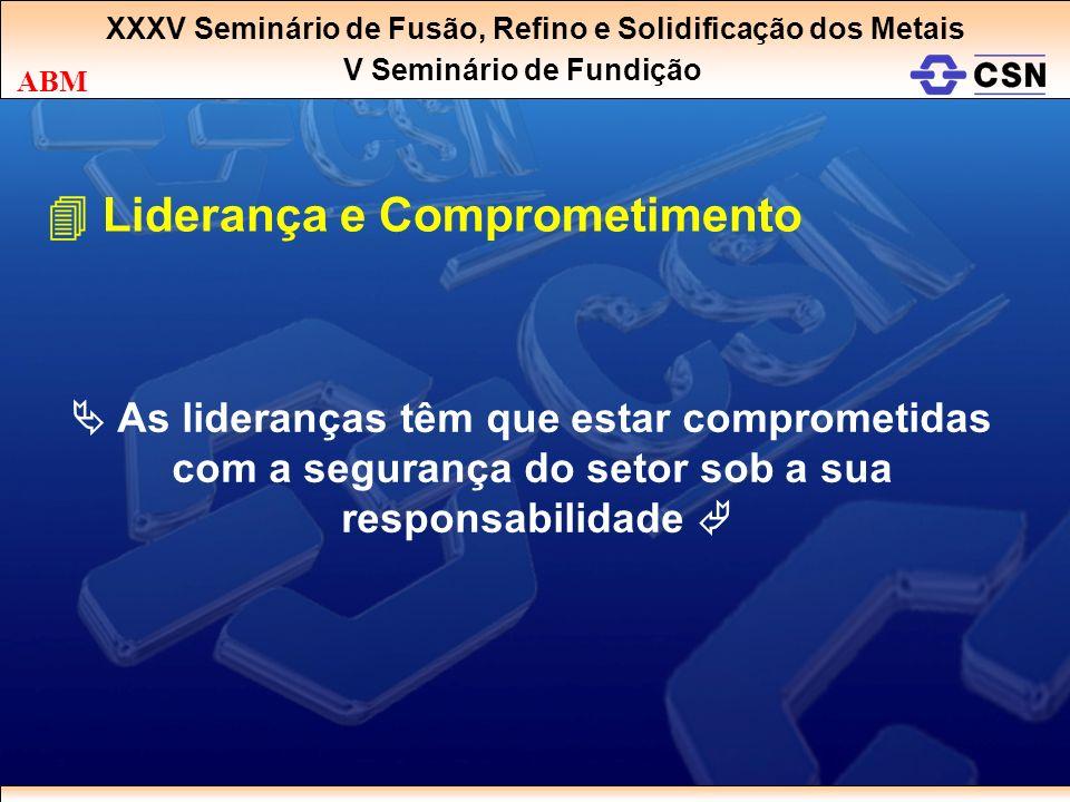 XXXV Seminário de Fusão, Refino e Solidificação dos Metais V Seminário de Fundição ABM Liderança e Comprometimento As lideranças têm que estar comprom