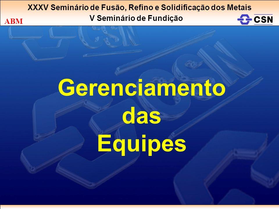 XXXV Seminário de Fusão, Refino e Solidificação dos Metais V Seminário de Fundição ABM Gerenciamento das Equipes