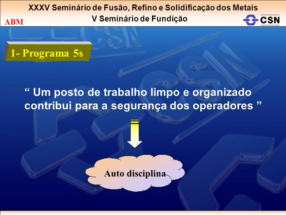 XXXV Seminário de Fusão, Refino e Solidificação dos Metais V Seminário de Fundição ABM 1- Programa 5s Um posto de trabalho limpo e organizado contribu