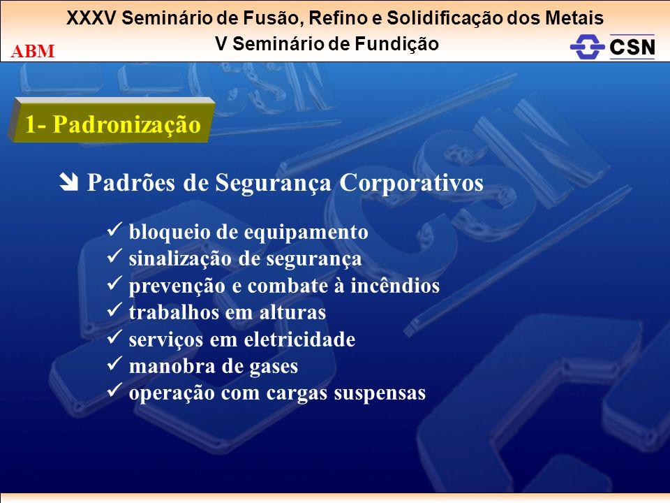 XXXV Seminário de Fusão, Refino e Solidificação dos Metais V Seminário de Fundição ABM 1- Padronização Padrões de Segurança Corporativos bloqueio de e