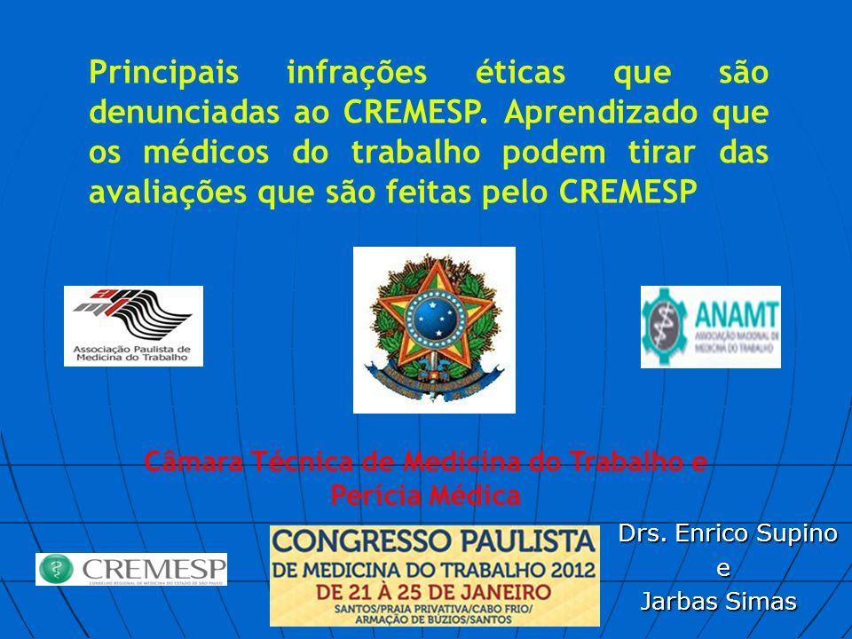 Drs. Enrico Supino Drs. Enrico Supino e Jarbas Simas Principais infrações éticas que são denunciadas ao CREMESP. Aprendizado que os médicos do trabalh