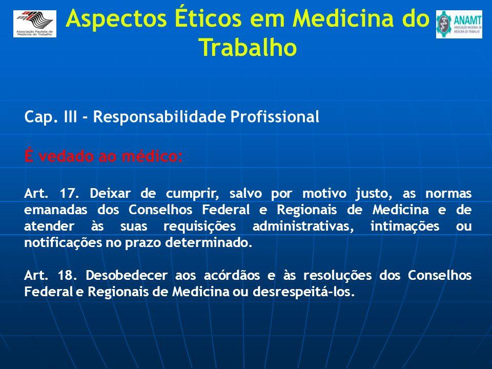 Cap. III - Responsabilidade Profissional É vedado ao médico: Art. 17. Deixar de cumprir, salvo por motivo justo, as normas emanadas dos Conselhos Fede