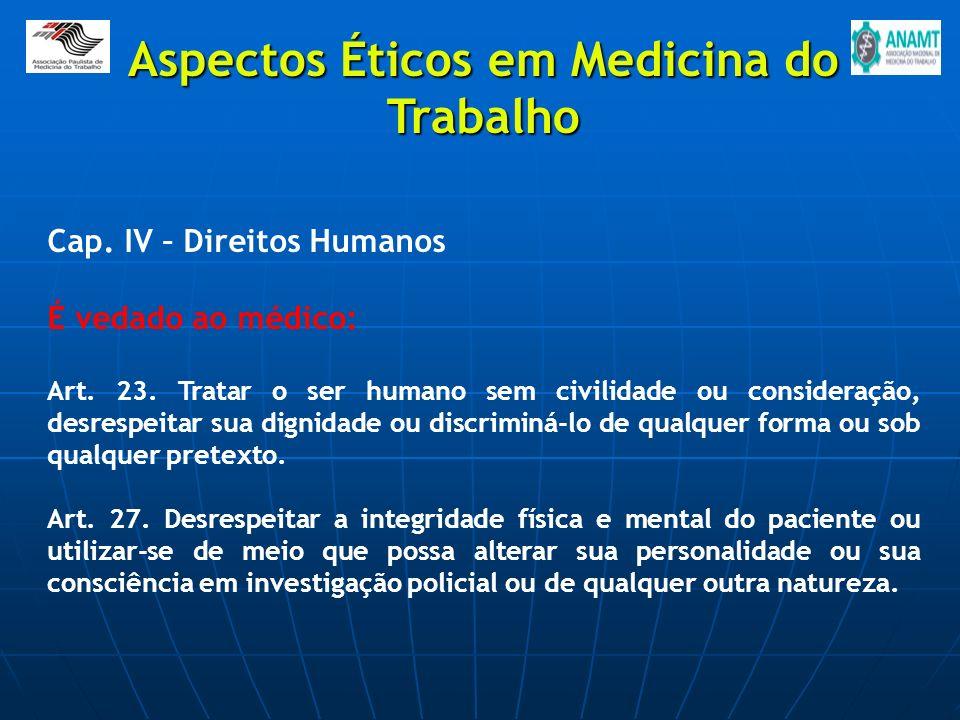 Cap. IV – Direitos Humanos É vedado ao médico: Art. 23. Tratar o ser humano sem civilidade ou consideração, desrespeitar sua dignidade ou discriminá-l