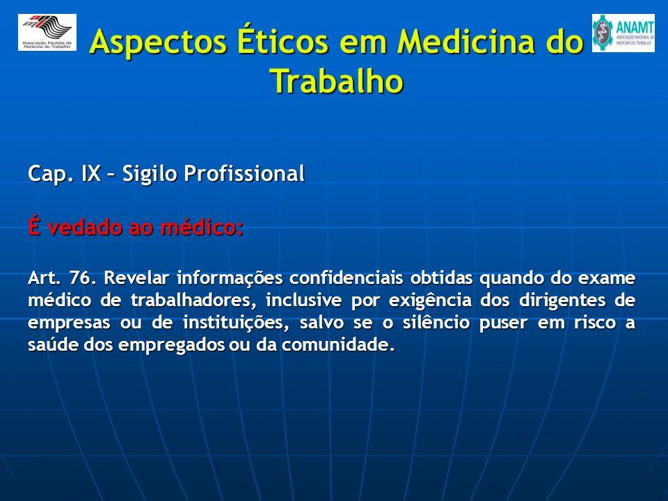 Cap. IX – Sigilo Profissional É vedado ao médico: Art. 76. Revelar informações confidenciais obtidas quando do exame médico de trabalhadores, inclusiv