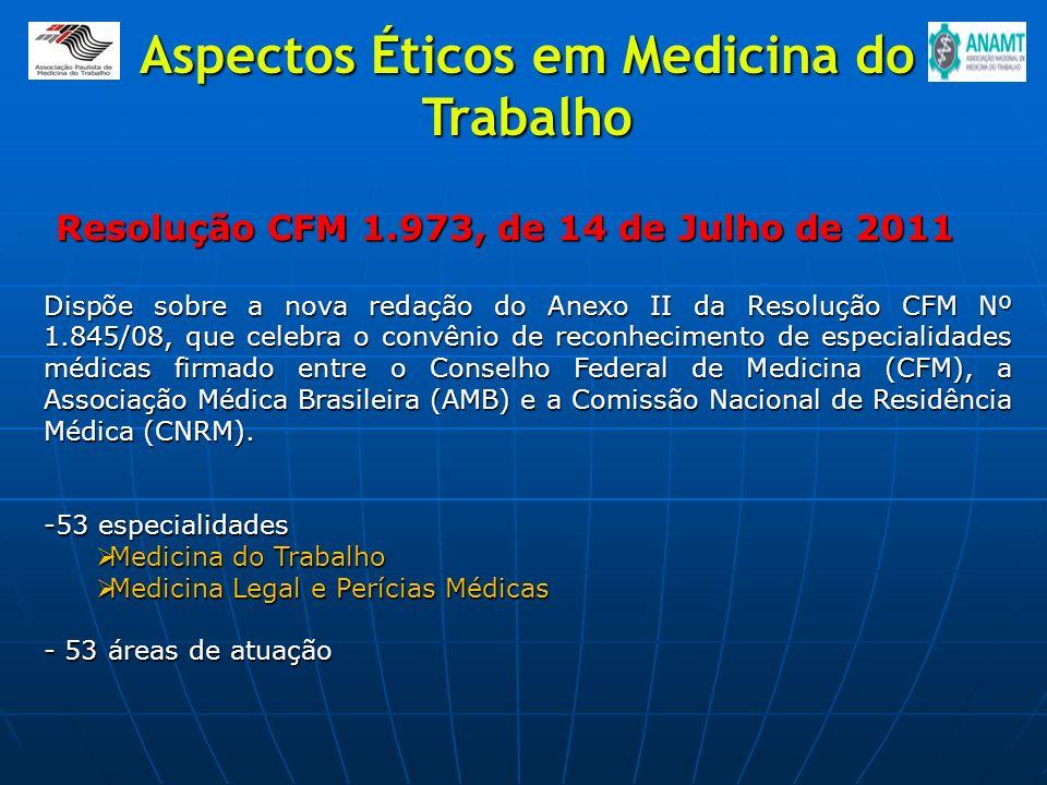 Resolução CFM 1.973, de 14 de Julho de 2011 Resolução CFM 1.973, de 14 de Julho de 2011 Dispõe sobre a nova redação do Anexo II da Resolução CFM Nº 1.