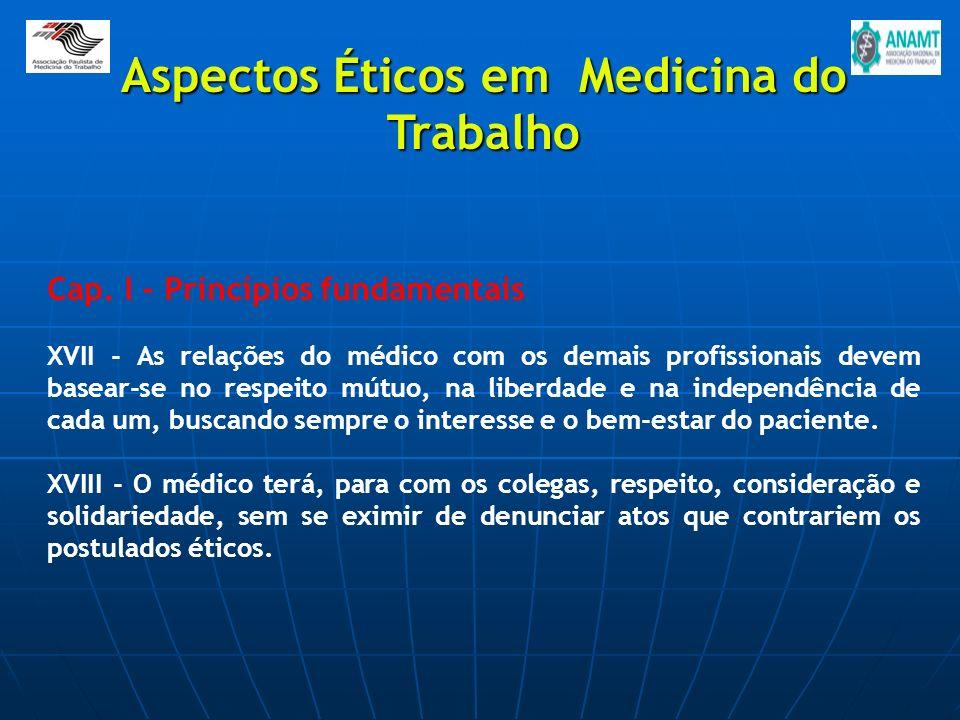 Cap. I - Princípios fundamentais XVII - As relações do médico com os demais profissionais devem basear-se no respeito mútuo, na liberdade e na indepen