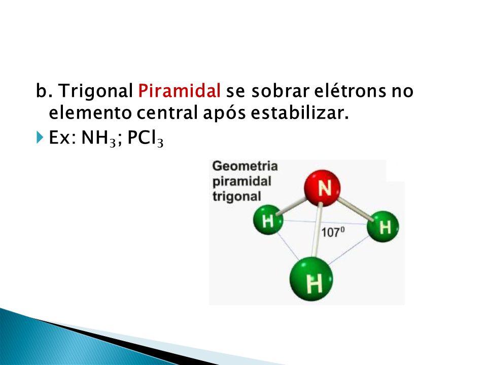 b. Trigonal Piramidal se sobrar elétrons no elemento central após estabilizar. Ex: NH 3 ; PCl 3