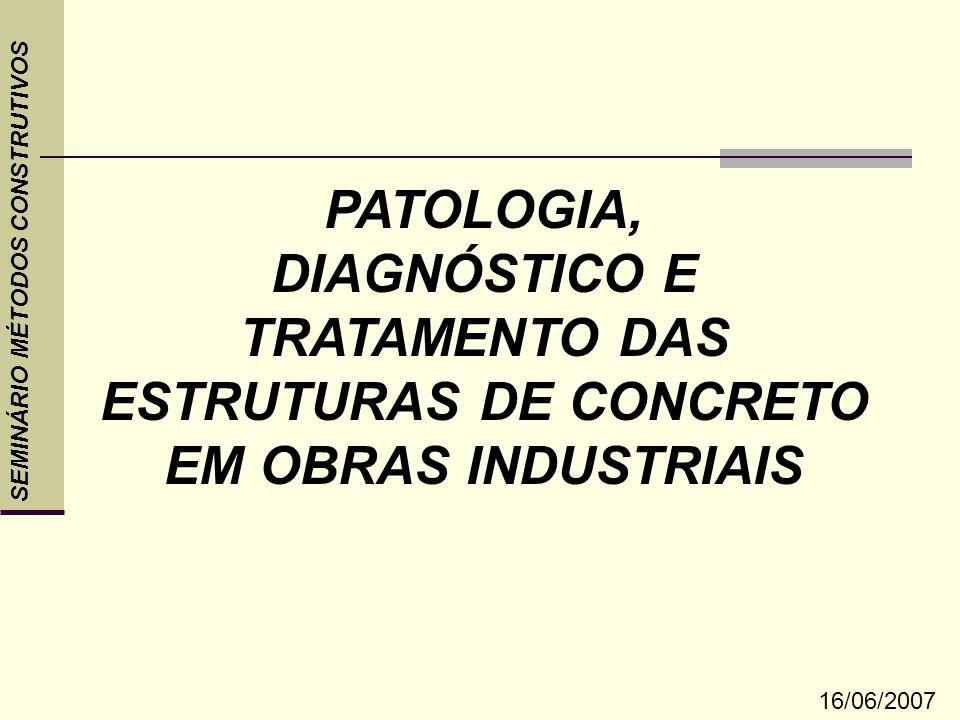 SEMINÁRIO MÉTODOS CONSTRUTIVOS DIAGNÓSTICOEstrutural Retração de secagem Acabamento Retração plástica