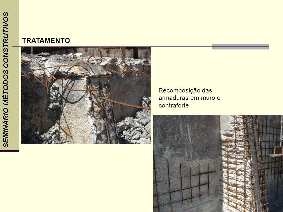 SEMINÁRIO MÉTODOS CONSTRUTIVOS TRATAMENTO Recomposição das armaduras em muro e contraforte