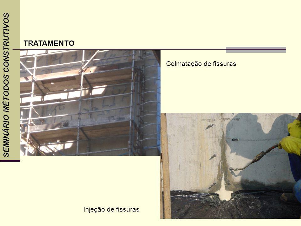 SEMINÁRIO MÉTODOS CONSTRUTIVOS TRATAMENTO Injeção de fissuras Colmatação de fissuras