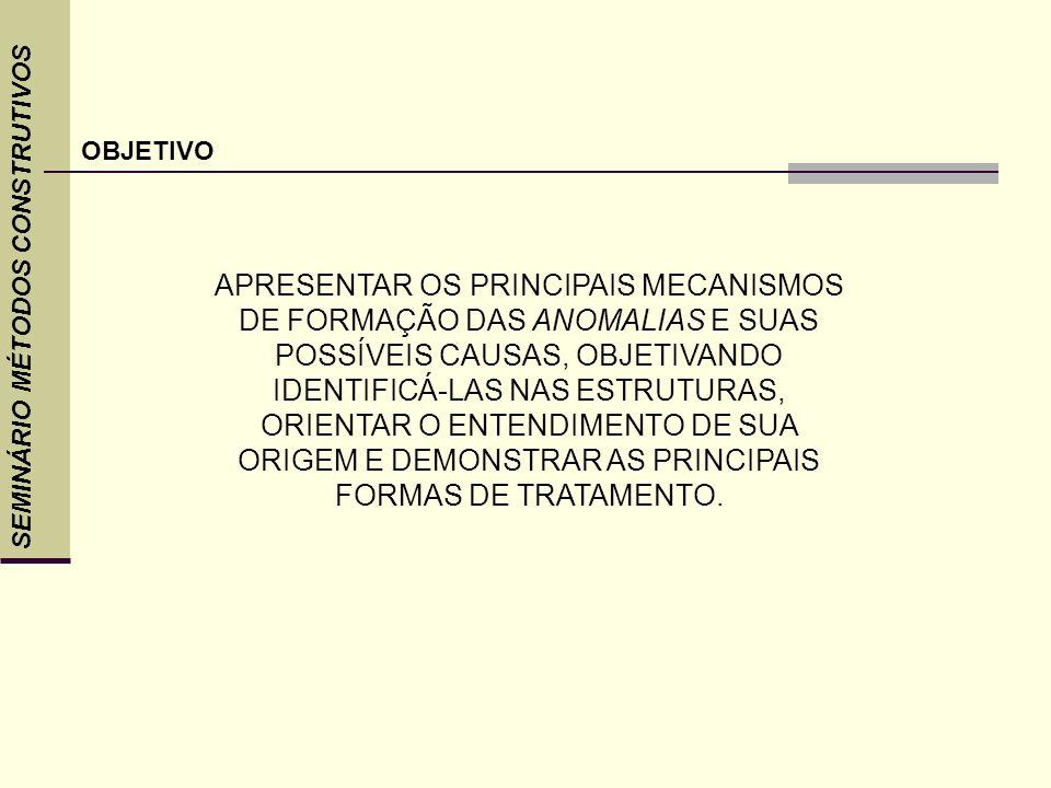 SEMINÁRIO MÉTODOS CONSTRUTIVOS ENTENDE-SE COMO PATOLOGIA O ESTUDO DAS ORIGENS, FORMAS DE MANIFESTAÇÃO, CONSEQUÊNCIAS E MECANISMOS DE OCORRÊNCIAS DAS FALHAS E DOS SISTEMAS DE DEGRADAÇÃO DAS ESTRUTURAS.
