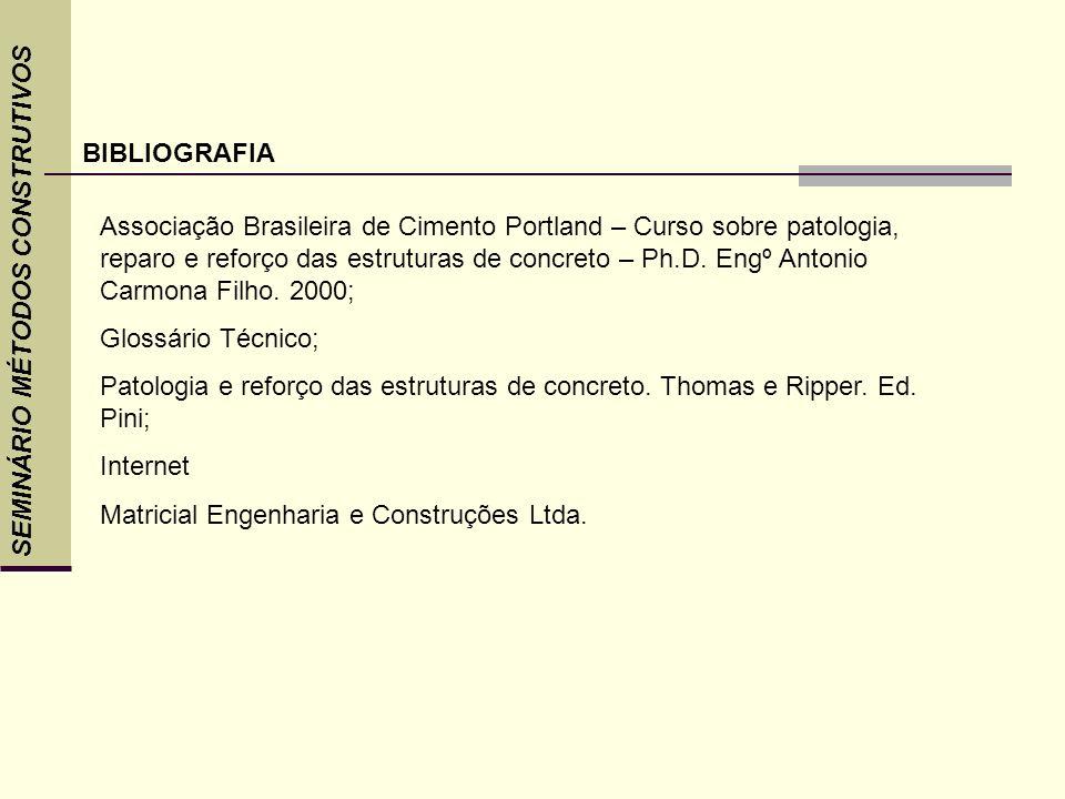 SEMINÁRIO MÉTODOS CONSTRUTIVOS BIBLIOGRAFIA Associação Brasileira de Cimento Portland – Curso sobre patologia, reparo e reforço das estruturas de conc