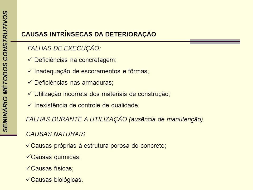 SEMINÁRIO MÉTODOS CONSTRUTIVOS CAUSAS INTRÍNSECAS DA DETERIORAÇÃO FALHAS DE EXECUÇÃO: Deficiências na concretagem; Inadequação de escoramentos e fôrma