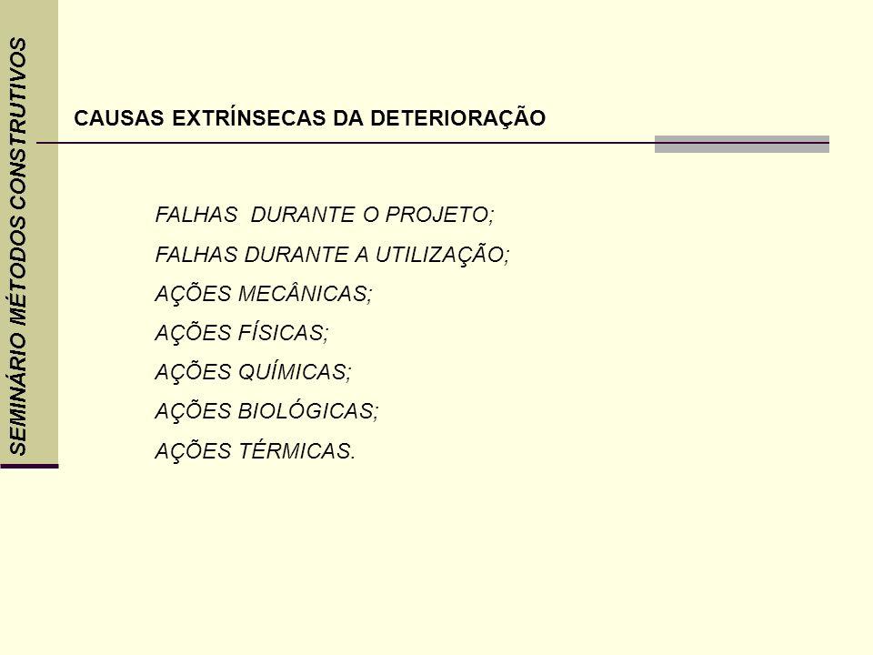 SEMINÁRIO MÉTODOS CONSTRUTIVOS CAUSAS EXTRÍNSECAS DA DETERIORAÇÃO FALHAS DURANTE O PROJETO; FALHAS DURANTE A UTILIZAÇÃO; AÇÕES MECÂNICAS; AÇÕES FÍSICA