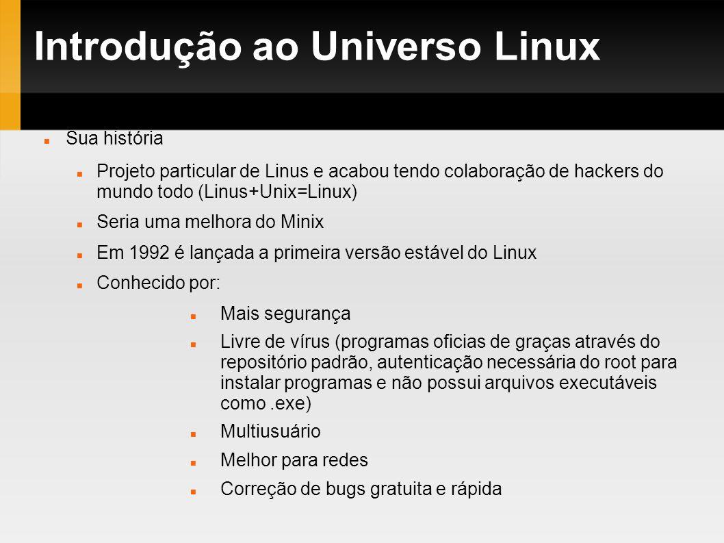 Introdução ao Universo Linux Sua história Projeto particular de Linus e acabou tendo colaboração de hackers do mundo todo (Linus+Unix=Linux) Seria uma