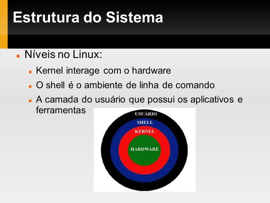 Estrutura do Sistema Níveis no Linux: Kernel interage com o hardware O shell é o ambiente de linha de comando A camada do usuário que possui os aplica