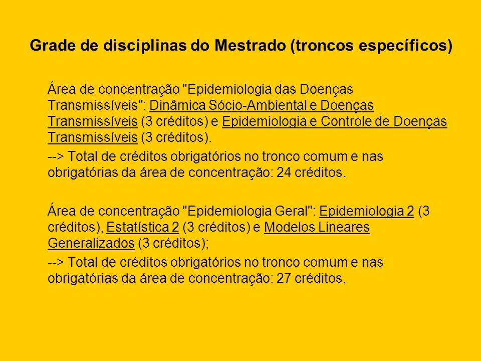 Grade de disciplinas do Mestrado (troncos específicos) Área de concentração