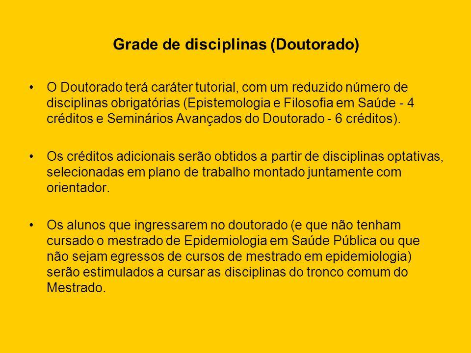 Grade de disciplinas (Doutorado) O Doutorado terá caráter tutorial, com um reduzido número de disciplinas obrigatórias (Epistemologia e Filosofia em S