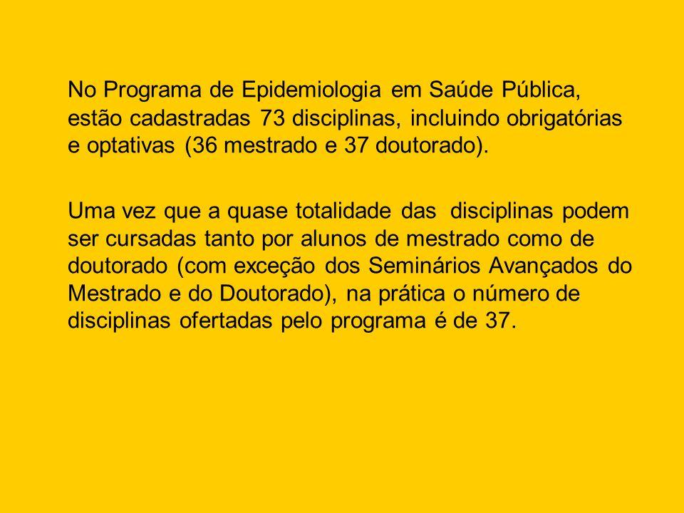 No Programa de Epidemiologia em Saúde Pública, estão cadastradas 73 disciplinas, incluindo obrigatórias e optativas (36 mestrado e 37 doutorado). Uma