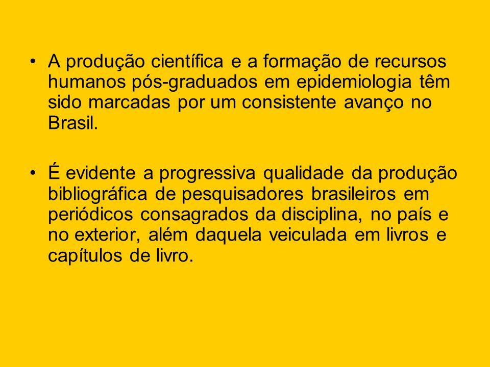 A produção científica e a formação de recursos humanos pós-graduados em epidemiologia têm sido marcadas por um consistente avanço no Brasil. É evident