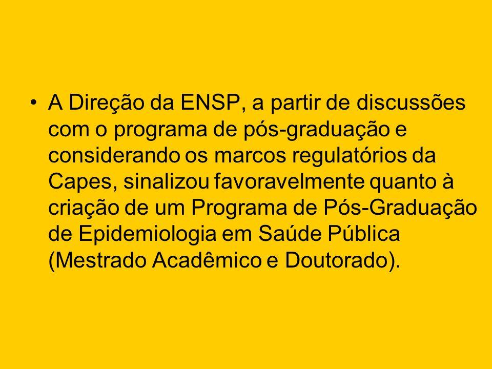 A Direção da ENSP, a partir de discussões com o programa de pós-graduação e considerando os marcos regulatórios da Capes, sinalizou favoravelmente qua