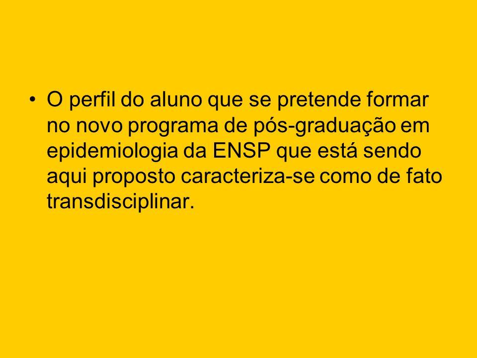O perfil do aluno que se pretende formar no novo programa de pós-graduação em epidemiologia da ENSP que está sendo aqui proposto caracteriza-se como d