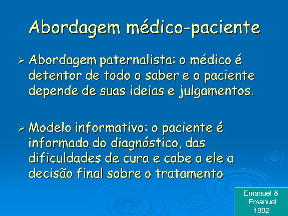 Abordagem médico-paciente Abordagem paternalista: o médico é detentor de todo o saber e o paciente depende de suas ideias e julgamentos. Abordagem pat