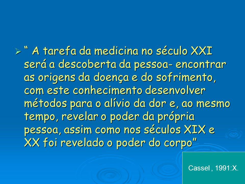 A tarefa da medicina no século XXI será a descoberta da pessoa- encontrar as origens da doença e do sofrimento, com este conhecimento desenvolver méto