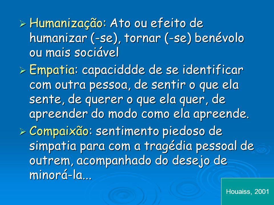 Humanização: Ato ou efeito de humanizar (-se), tornar (-se) benévolo ou mais sociável Humanização: Ato ou efeito de humanizar (-se), tornar (-se) benévolo ou mais sociável Empatia: capaciddde de se identificar com outra pessoa, de sentir o que ela sente, de querer o que ela quer, de apreender do modo como ela apreende.