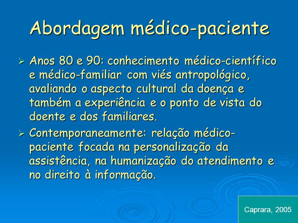 Abordagem médico-paciente Anos 80 e 90: conhecimento médico-científico e médico-familiar com viés antropológico, avaliando o aspecto cultural da doenç