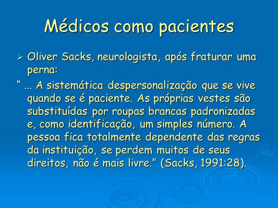 Médicos como pacientes Oliver Sacks, neurologista, após fraturar uma perna: Oliver Sacks, neurologista, após fraturar uma perna:...