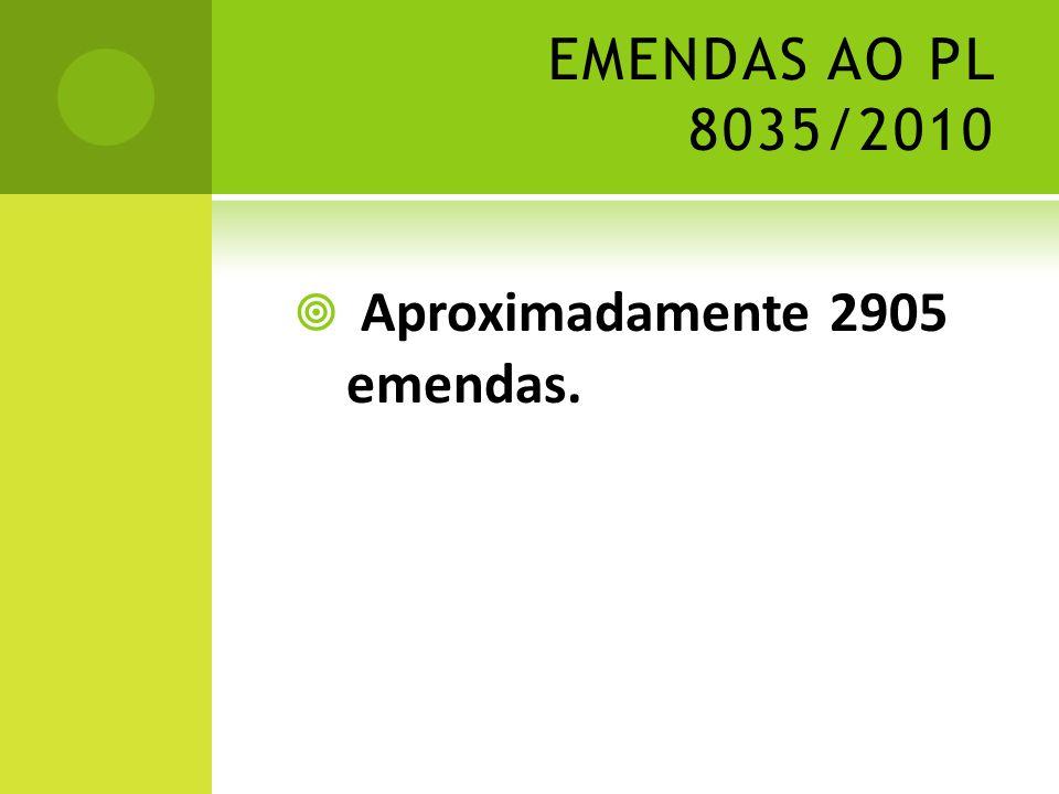EMENDAS AO PL 8035/2010 Aproximadamente 2905 emendas.