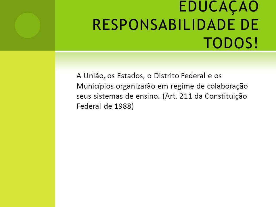 EDUCAÇÃO RESPONSABILIDADE DE TODOS! A União, os Estados, o Distrito Federal e os Municípios organizarão em regime de colaboração seus sistemas de ensi
