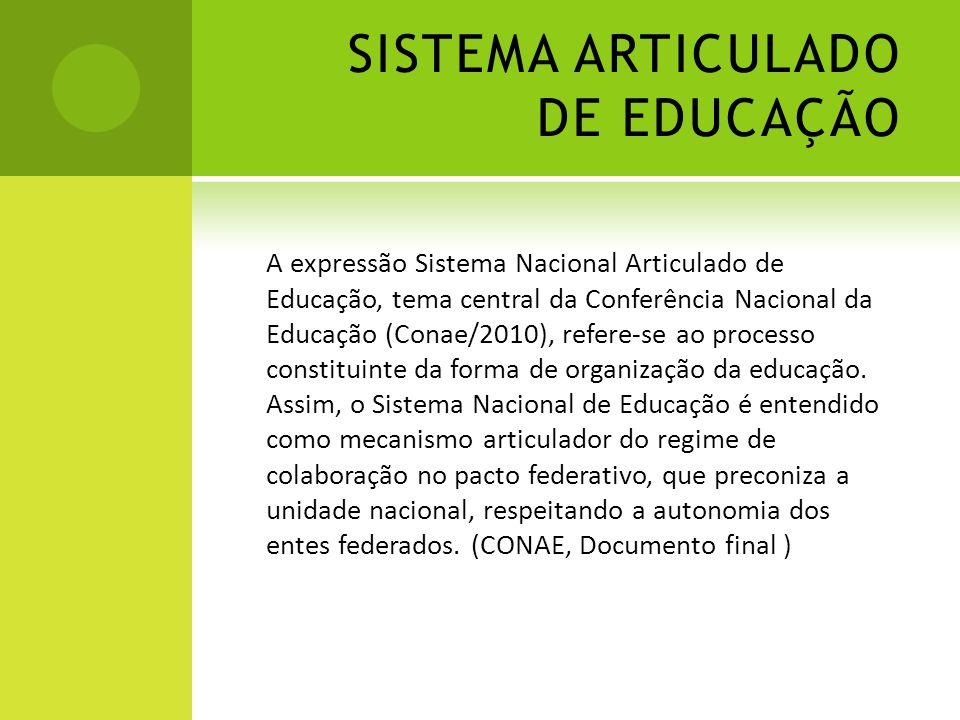 SISTEMA ARTICULADO DE EDUCAÇÃO A expressão Sistema Nacional Articulado de Educação, tema central da Conferência Nacional da Educação (Conae/2010), ref